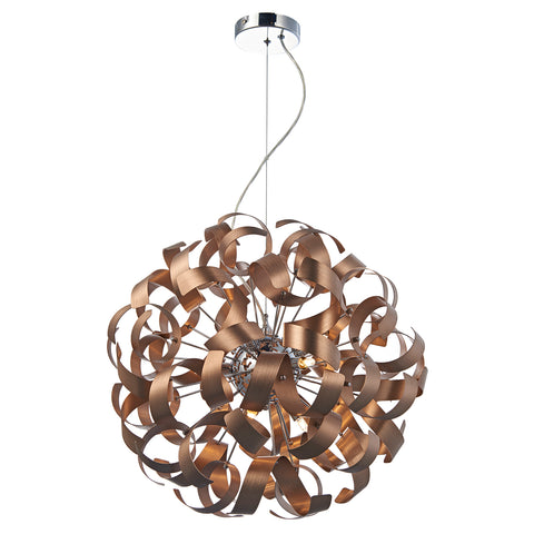 Rawley 9 Light Ribbon Pendant Satin Copper