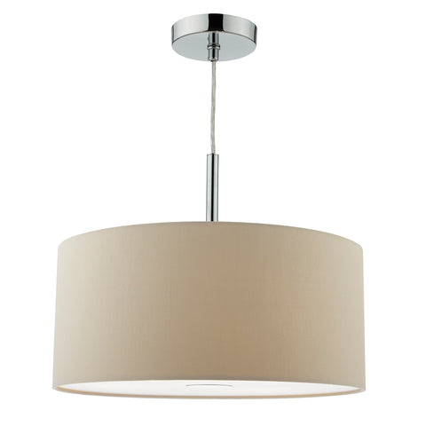 Ronda 3 Light Pendant 40CM Drum Ecru Faux Silk