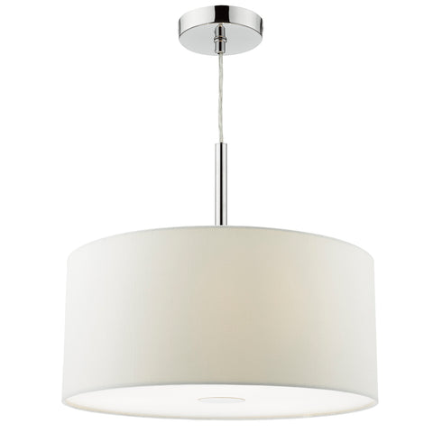Ronda 3 Light Pendant 40CM Drum White Faux Silk