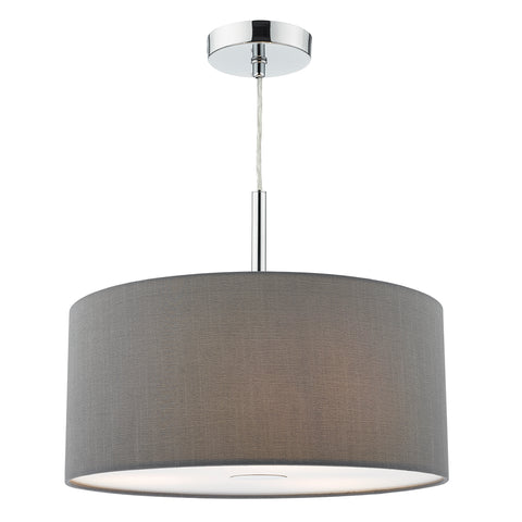 Ronda 3 Light Pendant 40CM Drum Grey Faux Silk