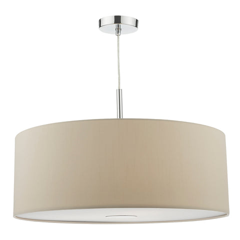 Ronda 3 Light Pendant 60CM Drum Ecru Faux Silk