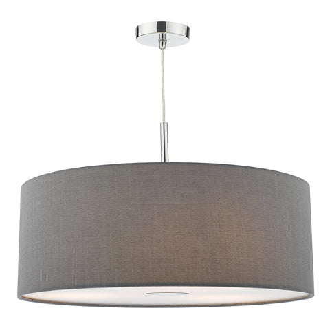 Ronda 3 Light Pendant 60CM Drum Grey Faux Silk