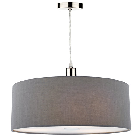 Ronda Easy Fit 60CM Faux Silk Grey Drum Shade