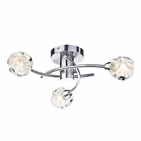 Seattle 3 Light Semi Flush Satin Chrome