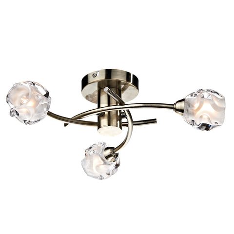 Seattle 3 Light Semi Flush Antique Brass