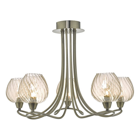 Sivyer 5lt Semi Flush Antique Brass & Champagne Glass