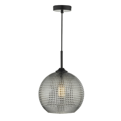 Soren 1 Light Pendant Black And Smoked Textured Glass