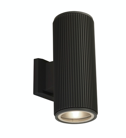 OUTDOOR UP/DOWN WALL/PORCH LIGHT - BLACK WITH CLEAR GLASS