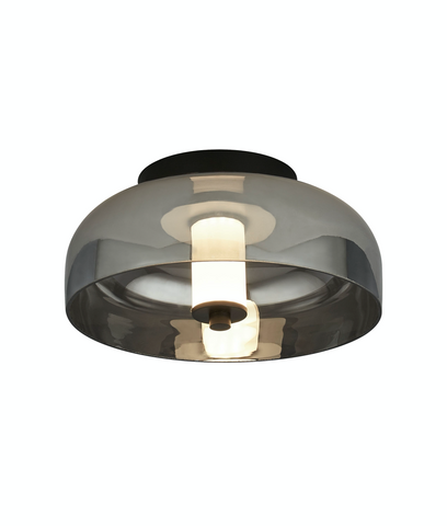 FLY 1LT LED FLUSH, MATT BLACK WITH SMOKED GLASS