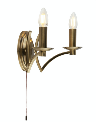 BOUND 2LT WALL LIGHT ANTIQUE BRASS