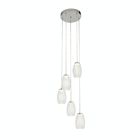 STORM 5LT MULTI DROP PENDANT WITH CLEAR GLASS