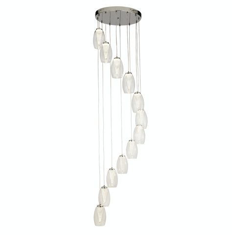STORM 12LT MULTI DROP PENDANT WITH CLEAR GLASS