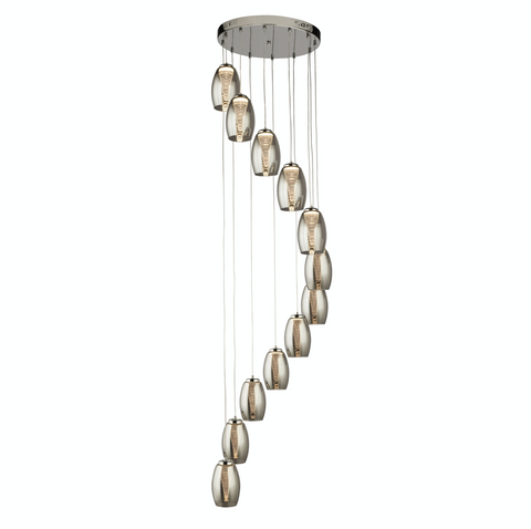 STORM 12LT MULTI DROP PENDANT WITH SMOKED GLASS