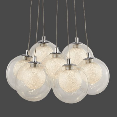 CLUSTER 7LT LED BALL PENDANT - CHROME WITH CLEAR GLASS & CRYSTAL SAND BALLS