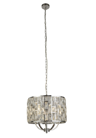 BELLA 5LT CHROME PENDANT WITH CRYSTAL GLASS