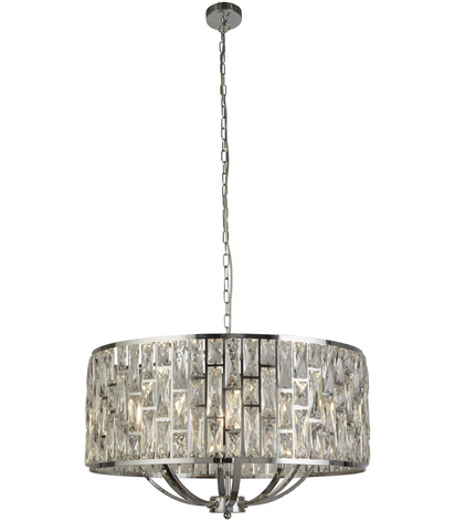 BELLA 8LT CHROME PENDANT WITH CRYSTAL GLASS