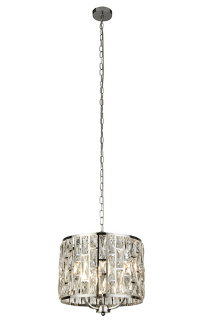 BELLA 3LT CHROME PENDANT WITH CRYSTAL GLASS