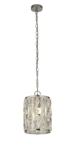 BELLA 1LT CHROME PENDANT WITH CRYSTAL GLASS