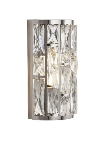BIJOU 2LT CHROME WALL LIGHT WITH CRYSTAL GLASS