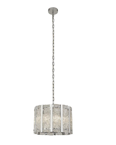 GRACE 5LT SATIN SILVER PENDANT WITH AQUATEX GLASS AND METAL BARS