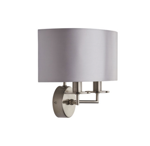 ALBERT 2LT SATIN SILVER WALL LIGHT WITH SILVER FAUX SILK SHADE