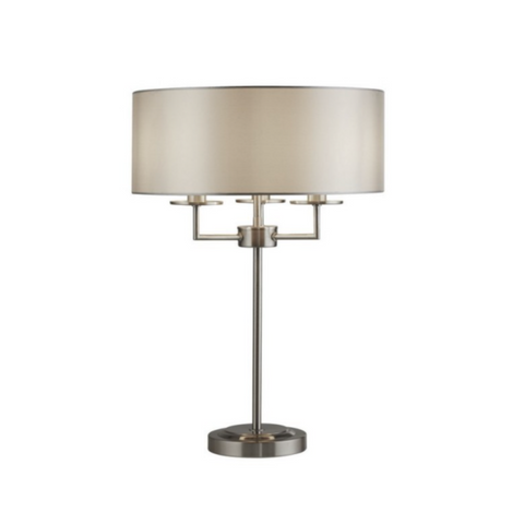ALBERT 3LT SATIN SILVER TABLE LAMP WITH SILVER FAUX SILK SHADE