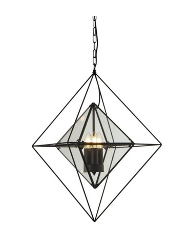 SERENITY 3LT PENDANT - BLACK WITH CLEAR GLASS