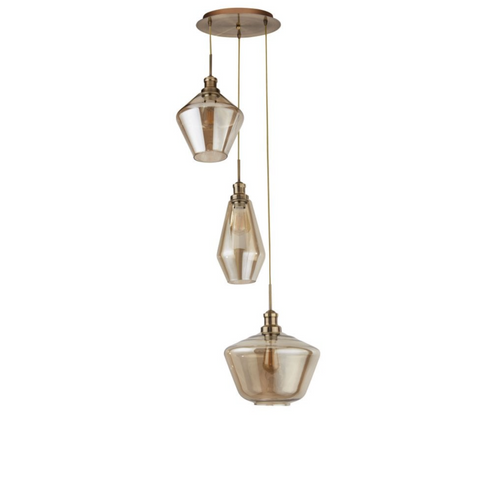 MIA 3LT MULTI DROP PENDANT WITH 3 STYLES OF CHAMPAGNE GLASS