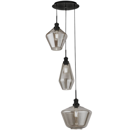 MIA 3LT MULTI DROP PENDANT WITH 3 STYLES OF SMOKED GLASS