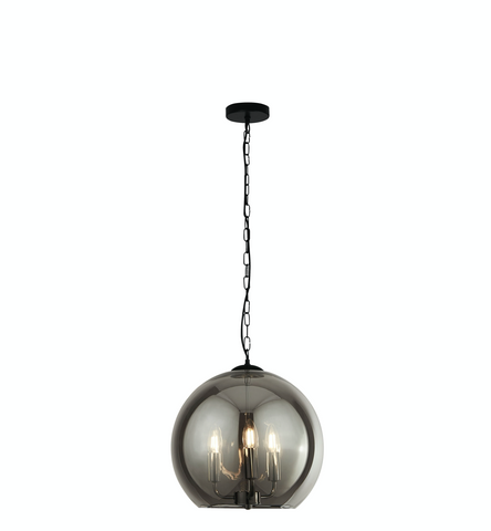 3LT SMOKED GLASS BALL PENDANT - BLACK/CHROME