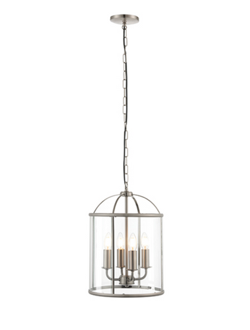 Lambeth 4lt Lantern Pendant - Satin Nickel