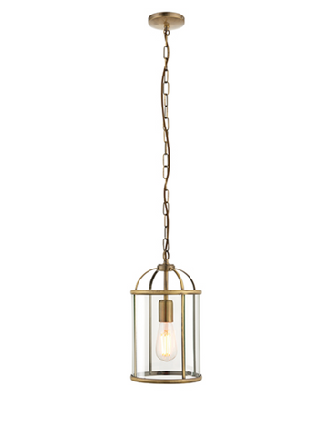 Lambeth 1lt Lantern Pendant - Antique Brass
