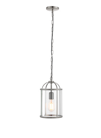 Lambeth 1lt Lantern Pendant - Satin Nickel