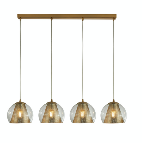 BROOKE 4LT PENDANT, SATIN BRASS AND CLEAR GLASS