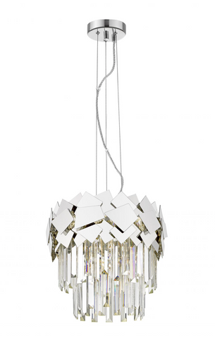 CELINE CRYSTAL AND CHROME 4 LT PENDANT