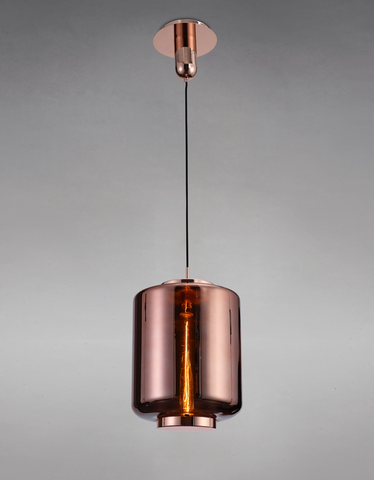 Blake Copper Glass 30cm Round Pendant