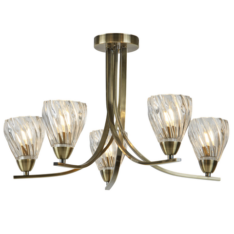 ASCONA II - 5 LIGHT CEILING SEMI FLUSH, ANTIQUE BRASS TWIST FRAME, TWIST GLASS