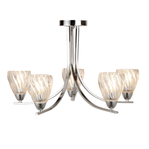 ASCONA II - 5 LIGHT SEMI FLUSH FITTING, CHROME TWIST FRAME, TWISTED GLASS