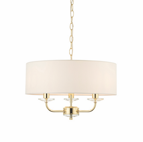 Nixon 3 Light Brass Pendant