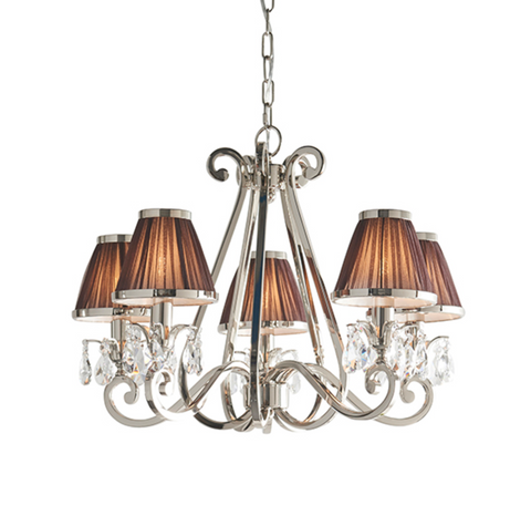Oksana 5 Light Nickel and Chocolate Shades Pendant