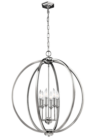 Corinne 6 Light Polished Nickel Pendant