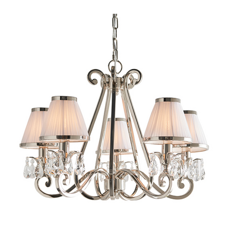 Oksana 5 Light Nickel and White Shades Pendant