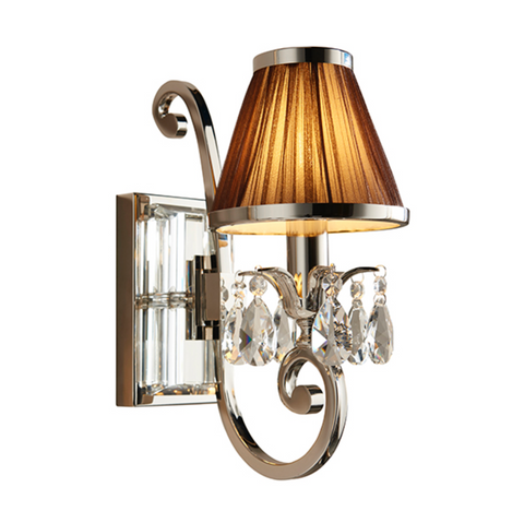 Oksana Polished Nickel & Chocolate Shades Single Wall Light