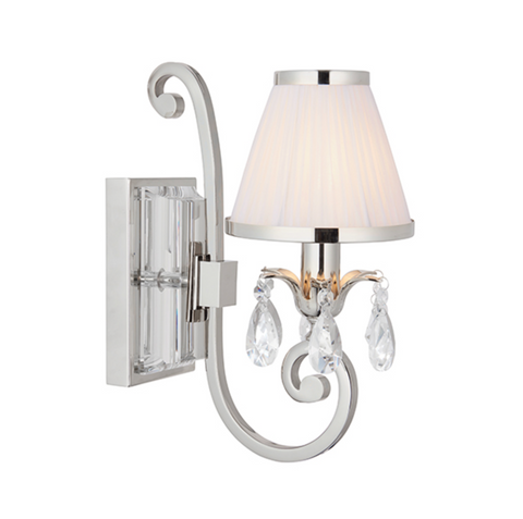 Oksana Polished Nickel & White Shade Single Wall Light