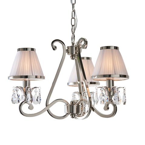 Oksana 3 Light Nickel and White Shades Pendant