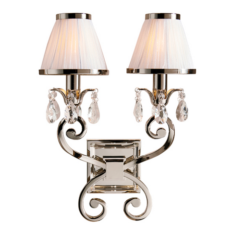 Oksana Polished Nickel & White Shades Twin Wall Light