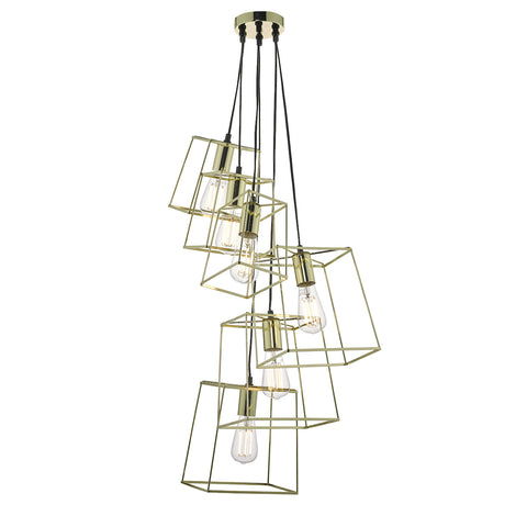 Tower 6 Light Cluster Pendant Gold