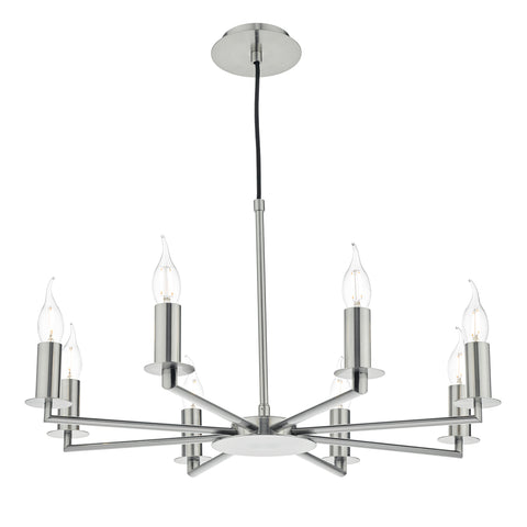 Tyler 8 Light Height Adjustable Pendant Satin Nickel Without Shade
