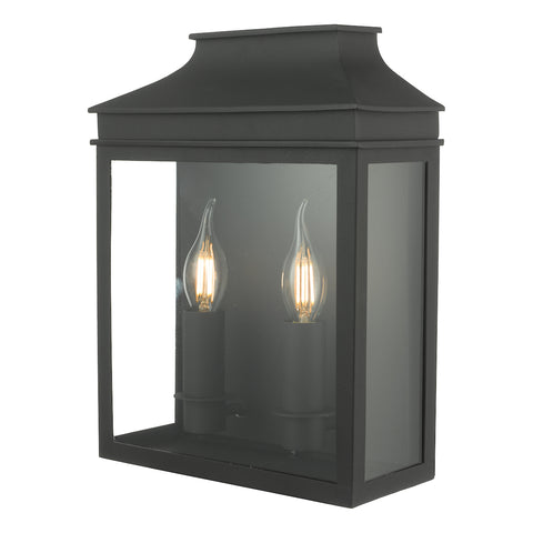 Vapour 2Lt Coach Lantern Wall Light Black IP44