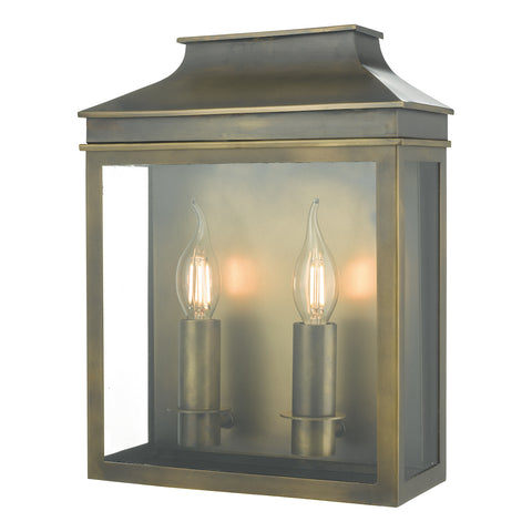 Vapour 2Lt Coach Lantern Wall Weathered Brass IP44